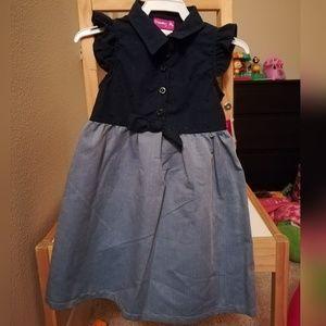 Navy Blue & Denim Sleveless Dress